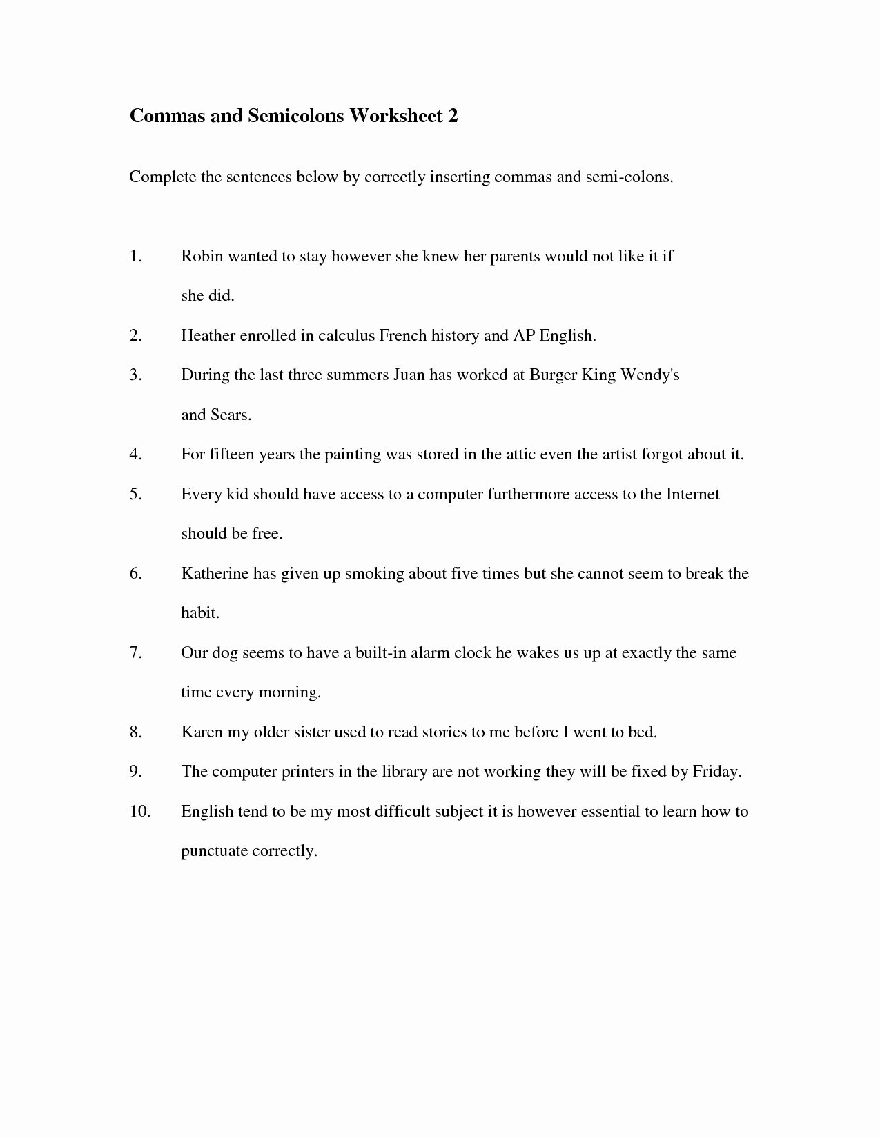 Semicolons and Colons Worksheet Unique Mas Semicolons and Colons Worksheet