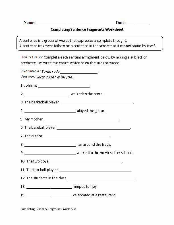 Sentence or Fragment Worksheet Best Of Pleting Sentence Fragments Worksheet