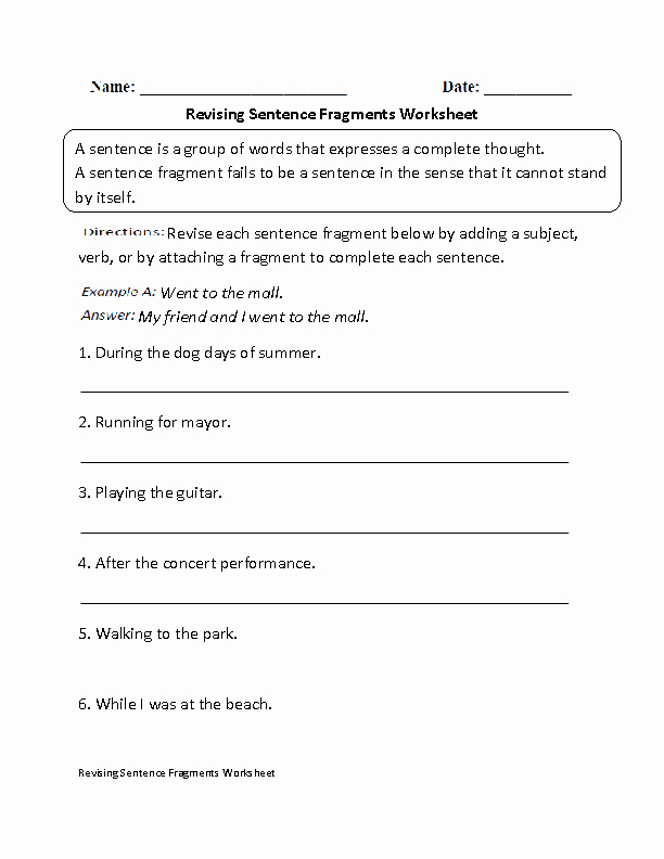 Sentence or Fragment Worksheet Fresh Revising Sentence Fragments Worksheet Beginner