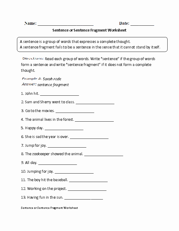 Sentence or Fragment Worksheet Fresh Sentence or Sentence Fragment Worksheet Esl
