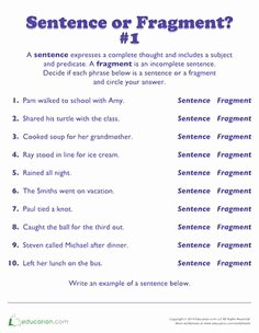 Sentence or Fragment Worksheet Inspirational 4th Grade Sentence Fragments Worksheets Google Search