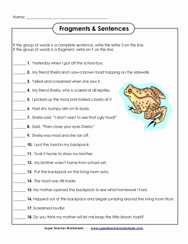 Sentence or Fragment Worksheet Inspirational English Fragments Sentences