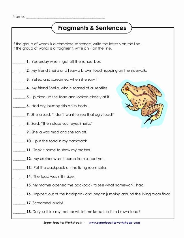 Sentence or Fragment Worksheet Inspirational English Fragments Sentences
