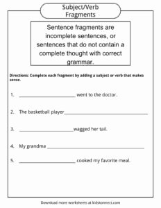 Sentence or Fragment Worksheet Lovely Sentence Fragments Worksheets Examples & Definition for Kids