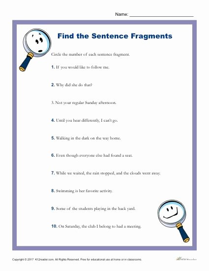 Sentence or Fragment Worksheet Lovely which Of the Following is A Sentence Fragment