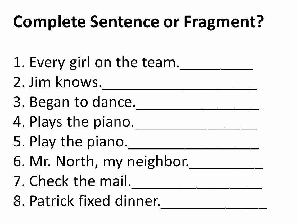 Sentence or Fragment Worksheet Luxury Sentence Fragment Worksheet