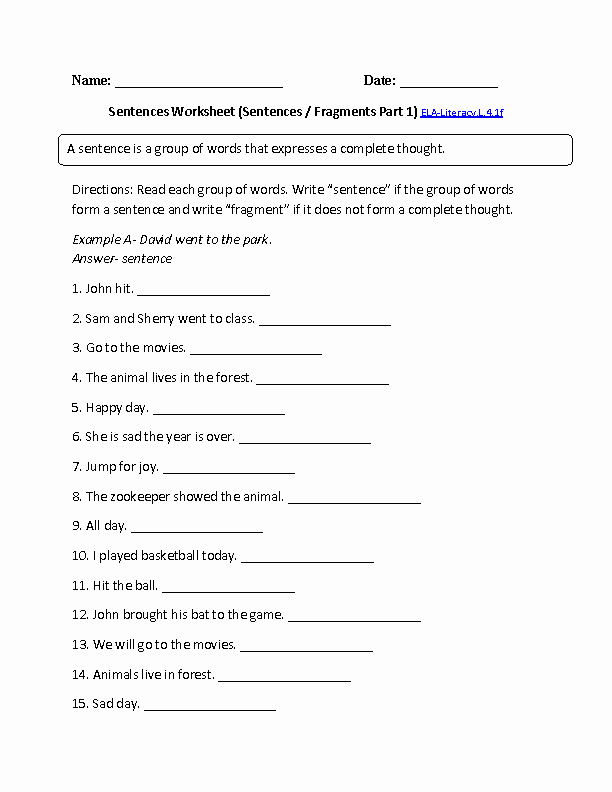 Sentence or Fragment Worksheet Luxury Sentence or Fragment 1 Ela Literacy L 4 1f Language