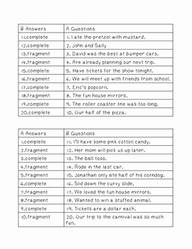 Sentence or Fragment Worksheet New Plete Sentence or Fragment Partner Game and Practice
