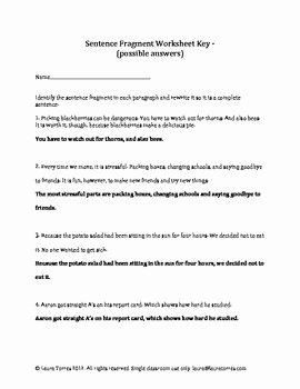 Sentence or Fragment Worksheet New Sentence Fragments Worksheets Quizzes and Answer Keys