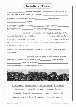 Separation Of Mixtures Worksheet Elegant Separation Of Mixtures [cloze Worksheet] by Good Science