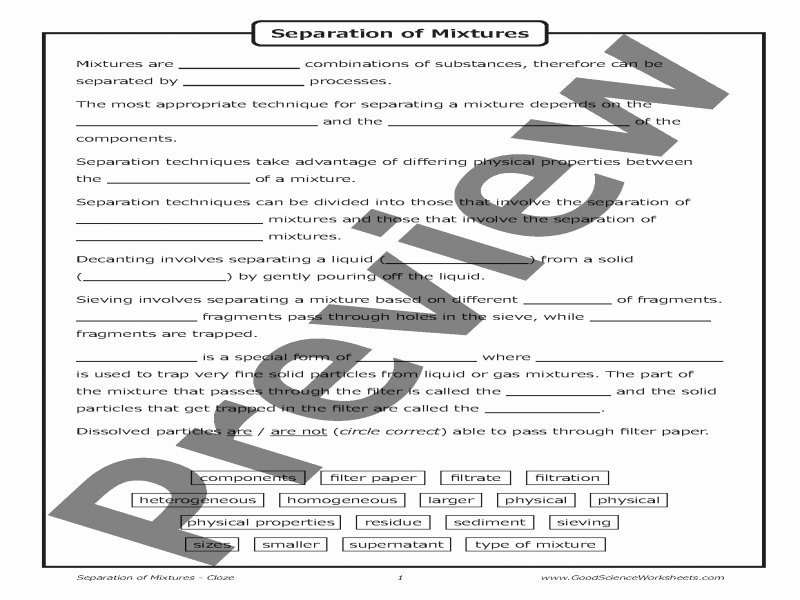 Separation Of Mixtures Worksheet Fresh Separation Mixtures Worksheet Free Printable Worksheets