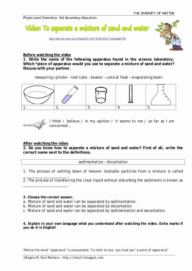 Separation Of Mixtures Worksheet Fresh Separation Of Water and Sand