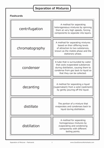 Separation Of Mixtures Worksheet Luxury Separation Of Mixtures [flashcards] by