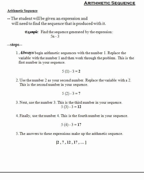 Sequence and Series Worksheet Awesome Arithmetic Sequence Worksheet