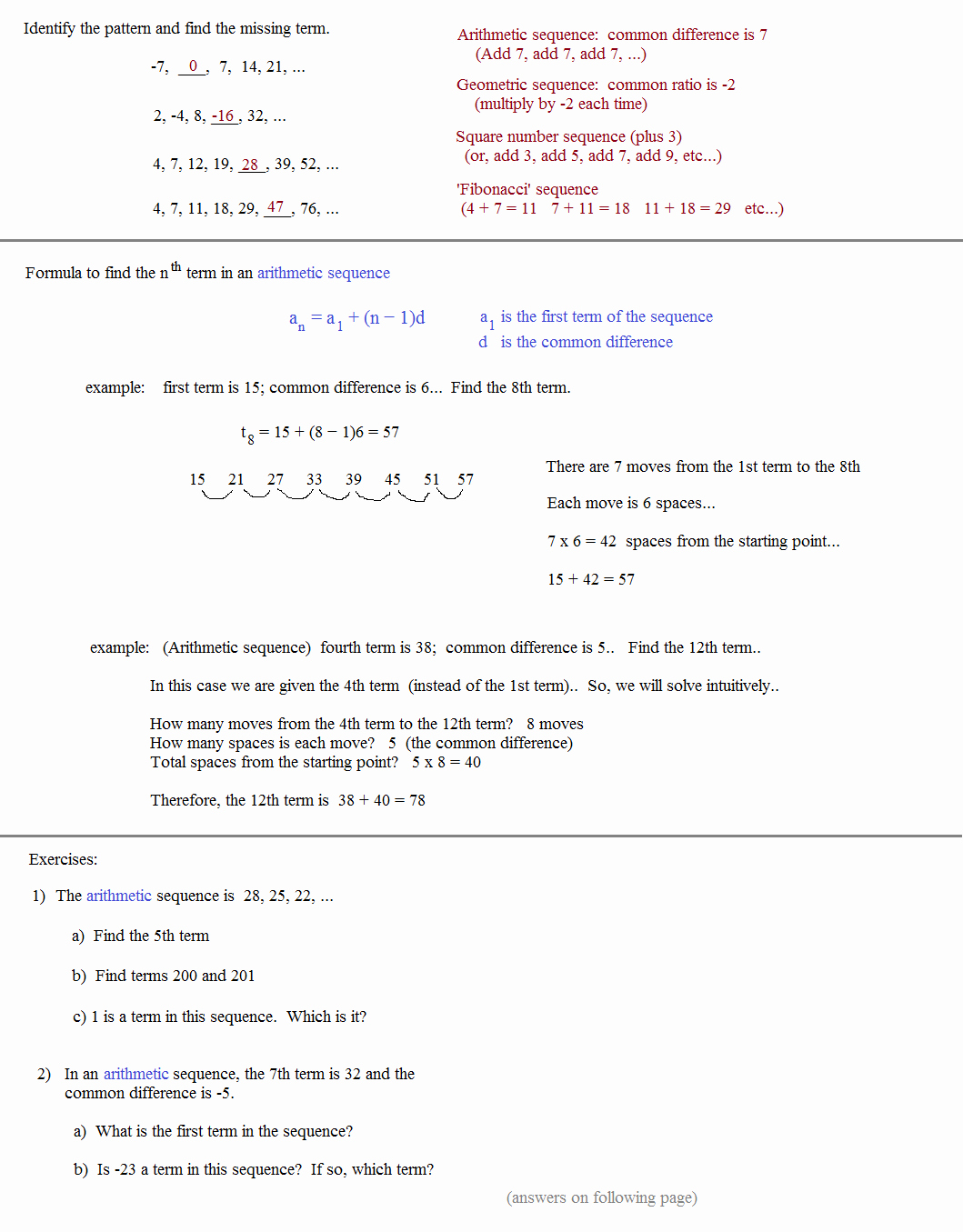 Sequence and Series Worksheet Beautiful Math Plane Sequences and Series I