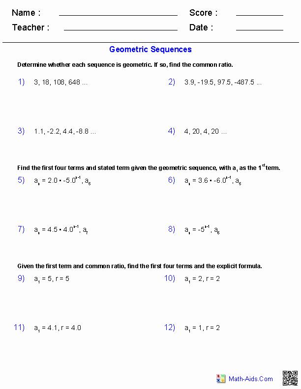 Sequence and Series Worksheet Elegant Algebra 2 Worksheets