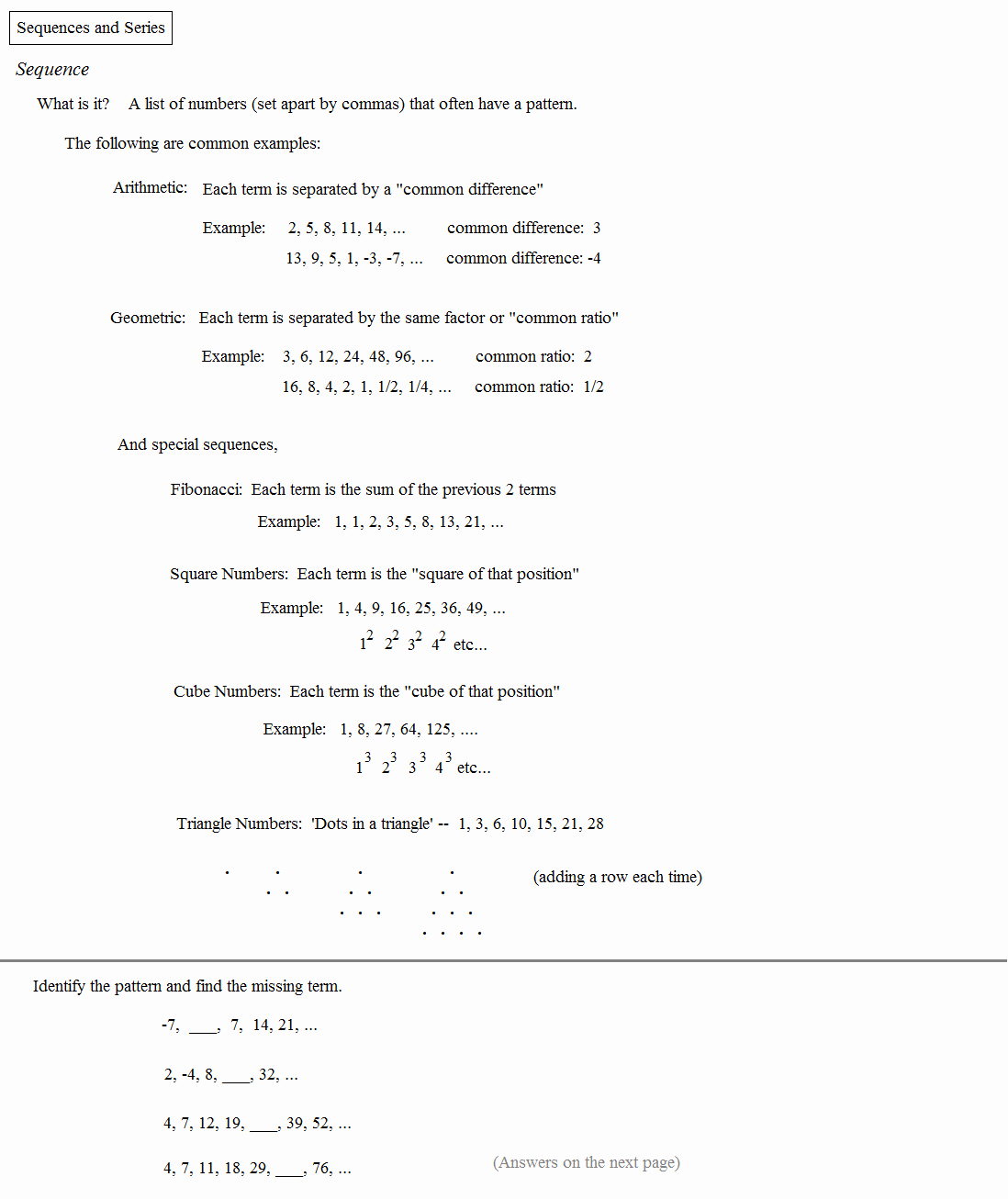 Sequence and Series Worksheet Elegant Math Plane Sequences and Series I