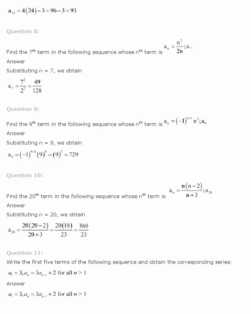 Sequence and Series Worksheet Fresh Ncert solutions for Class 11 Maths Chapter 9 – Sequences
