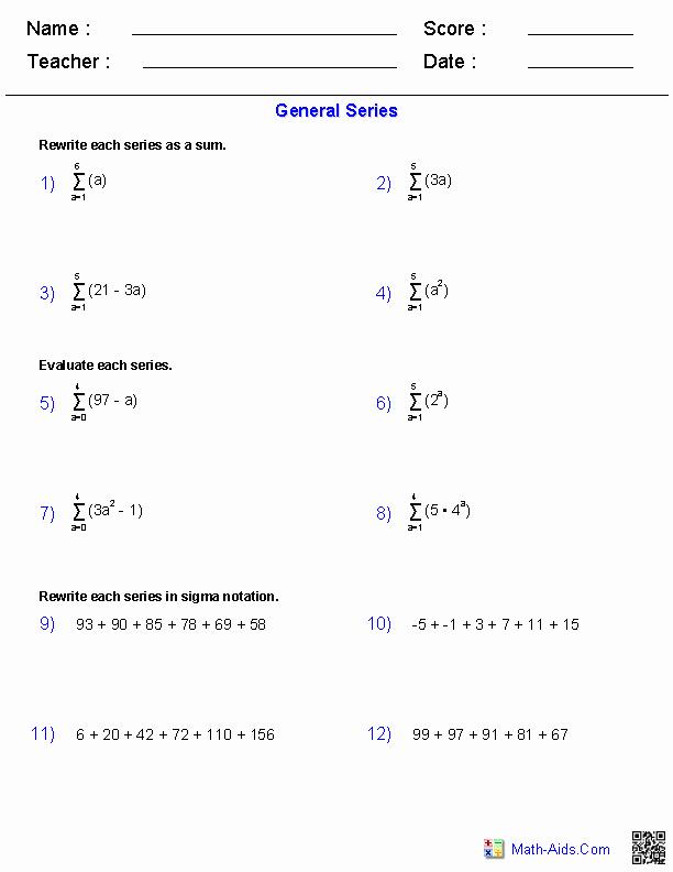 Sequence and Series Worksheet Luxury Algebra 2 Worksheets