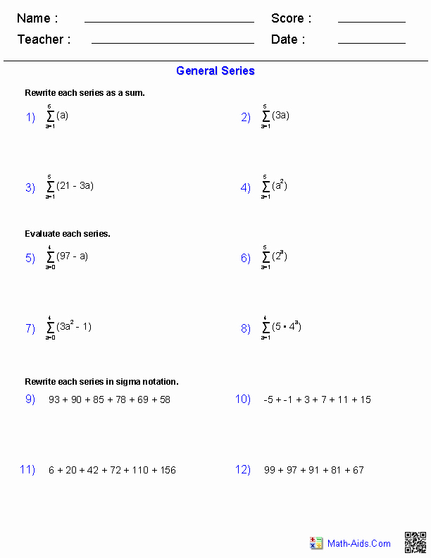 Sequences and Series Worksheet Answers Awesome Algebra 2 Worksheets
