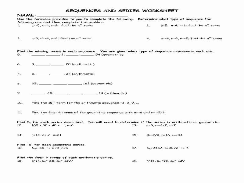 Sequences and Series Worksheet Answers Awesome Arithmetic and Geometric Sequences Worksheet