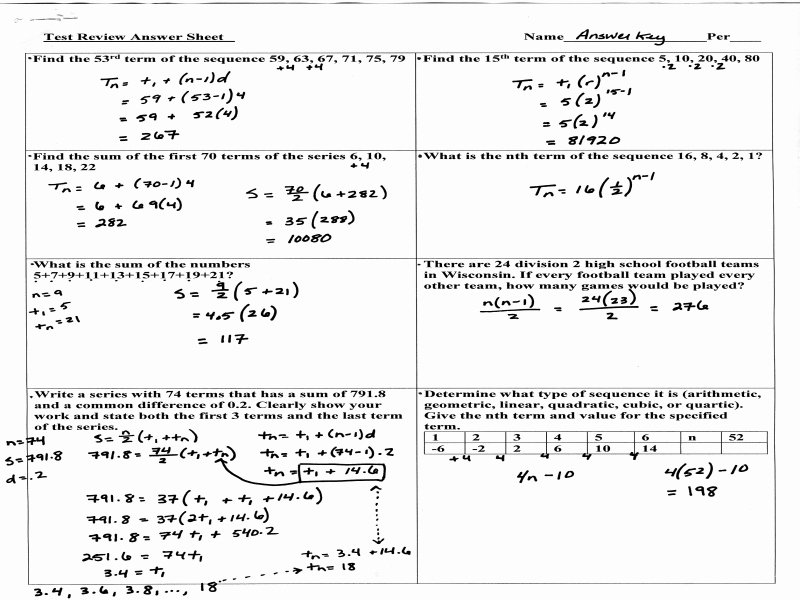 Sequences and Series Worksheet Answers Best Of Algebra 2 Arithmetic Sequences Answer Key 28