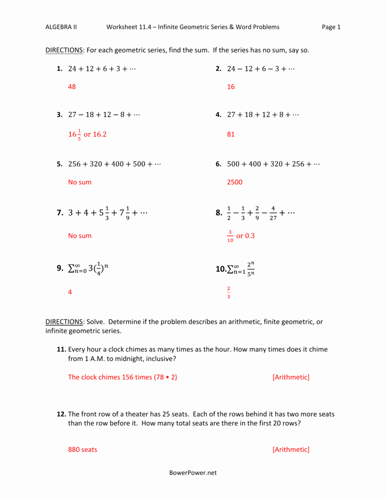 Sequences and Series Worksheet Answers Best Of Worksheet 11 4 Infinite Geometric Series & Word