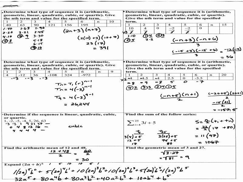 Sequences and Series Worksheet Answers Fresh Arithmetic Sequences and Series Worksheet Free Printable