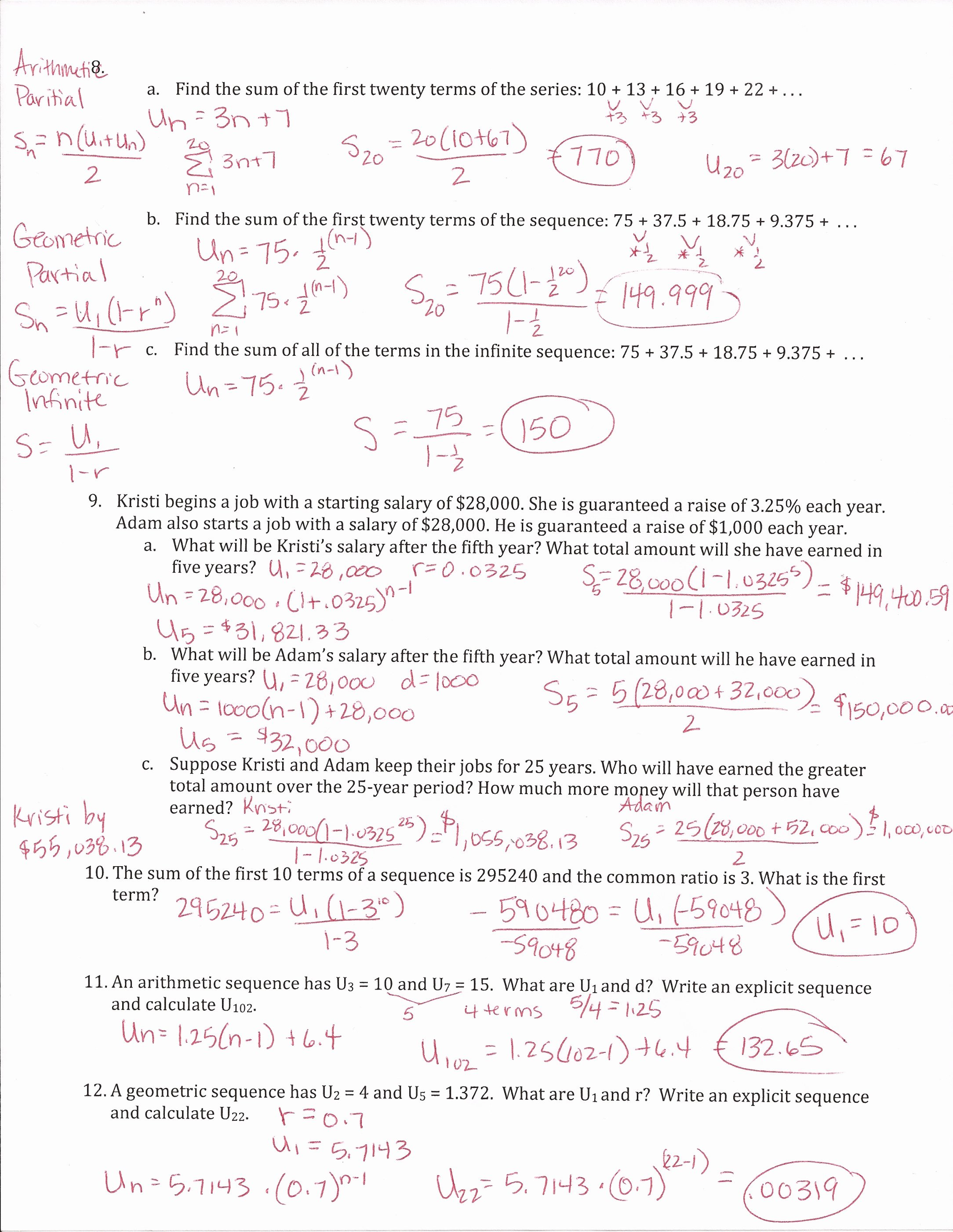Sequences and Series Worksheet Answers Inspirational Arithmetic Sequences the Nth Term Worksheet Edplace