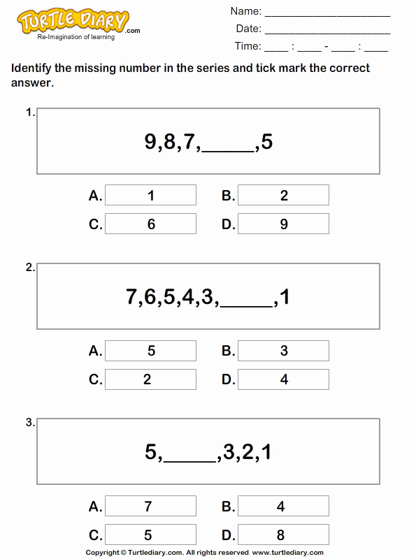 Sequences and Series Worksheet Answers Inspirational Find the Missing Numbers to Plete the Series Worksheet