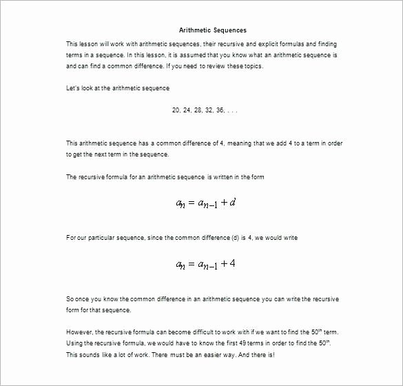 Sequences and Series Worksheet Answers Lovely 22 Arithmetic and Geometric Sequences Mon Core Algebra