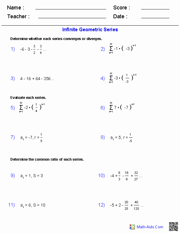Sequences and Series Worksheet Answers Luxury Algebra 2 Worksheets