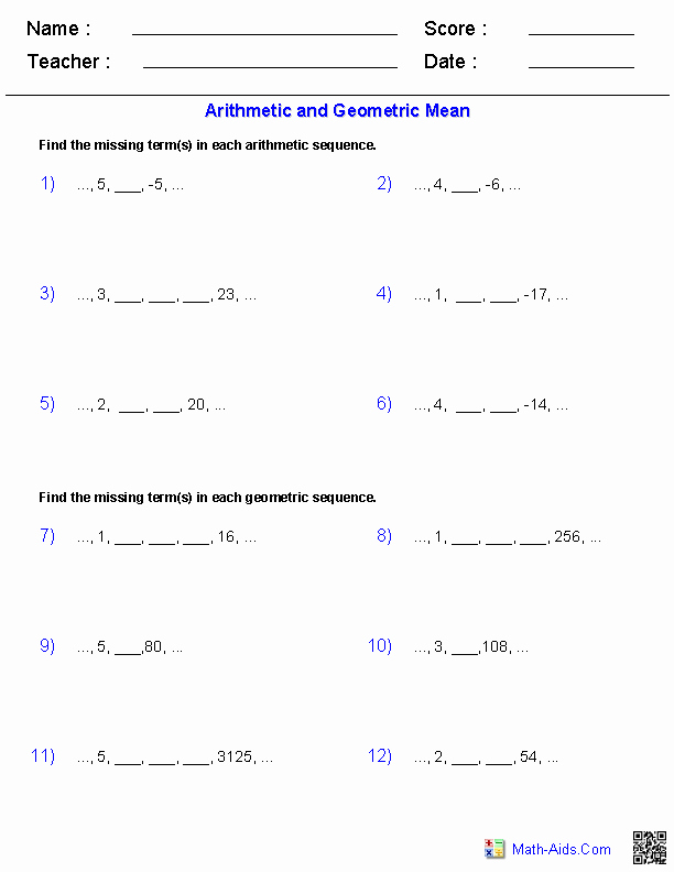 Sequences and Series Worksheet Answers Luxury Arithmetic and Geometric Means with Sequences Worksheets