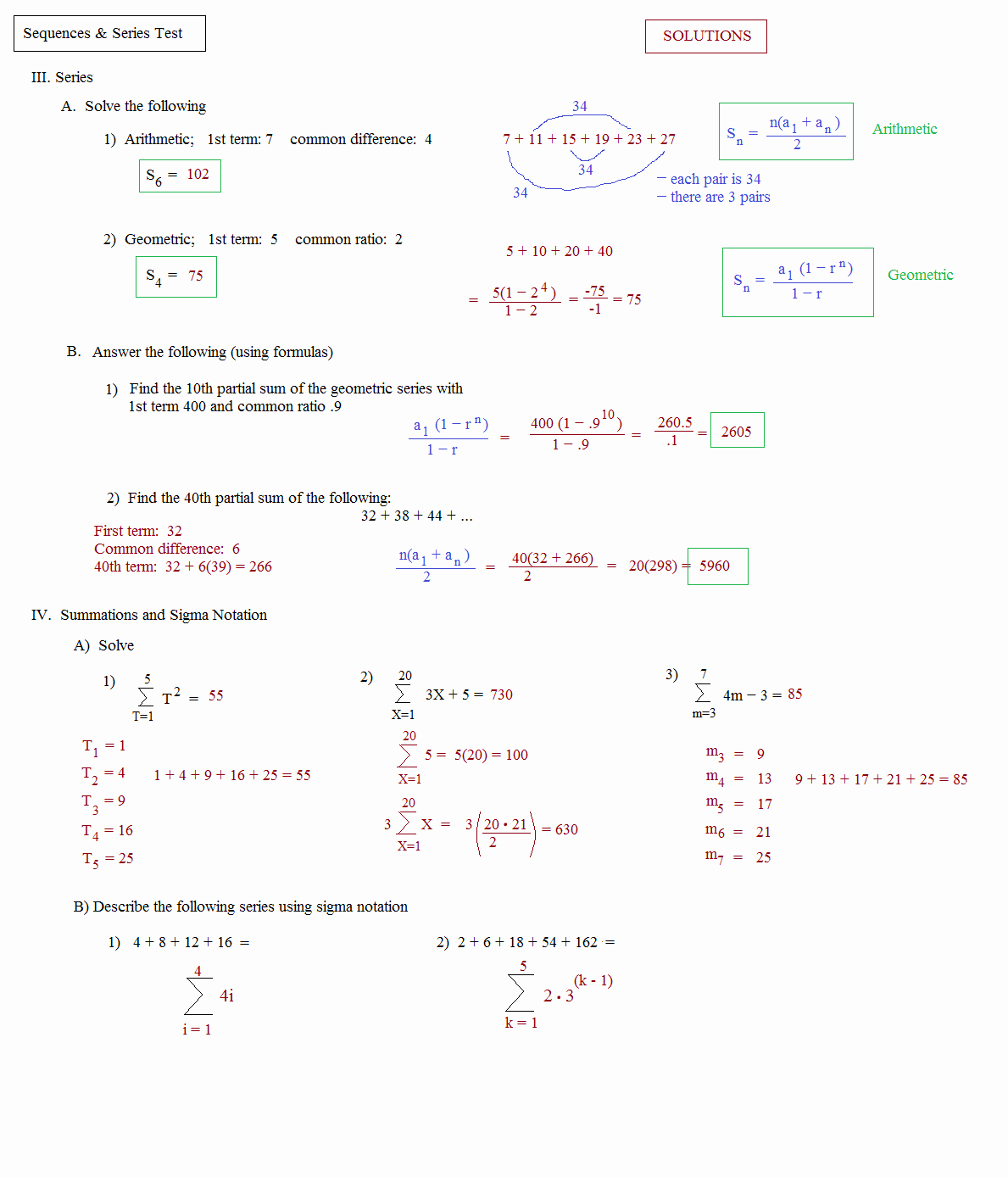 Sequences and Series Worksheet Answers Luxury Math Plane Sequences and Series I