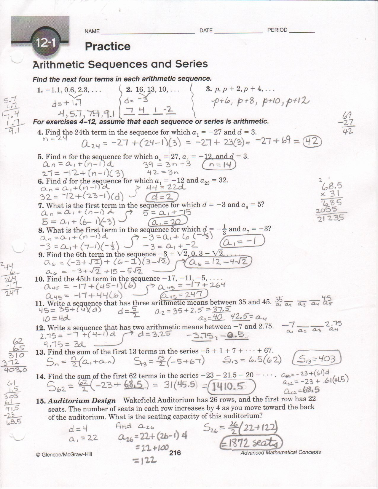 Sequences and Series Worksheet Answers New Arithmetic Sequences Worksheet 1 Answer Key