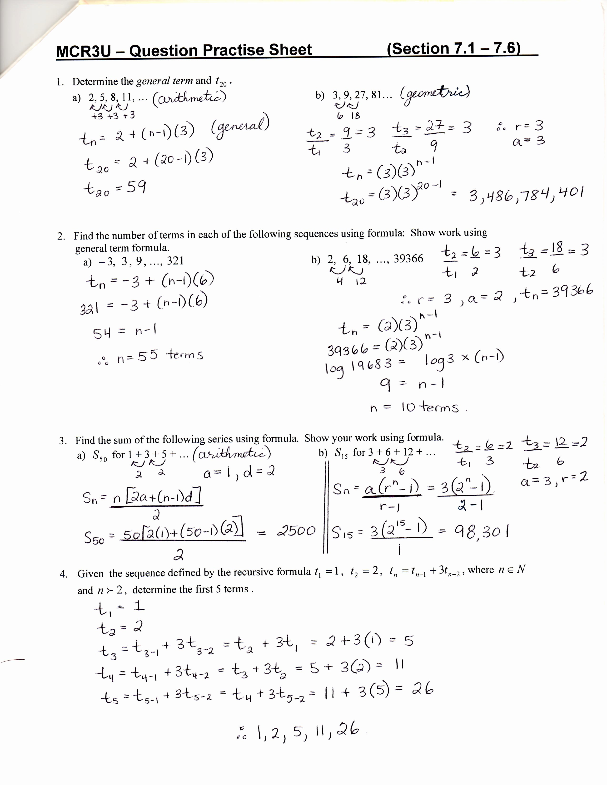 Sequences and Series Worksheet Answers New Unit 7 & 8 Sequences Series and Financial Applications