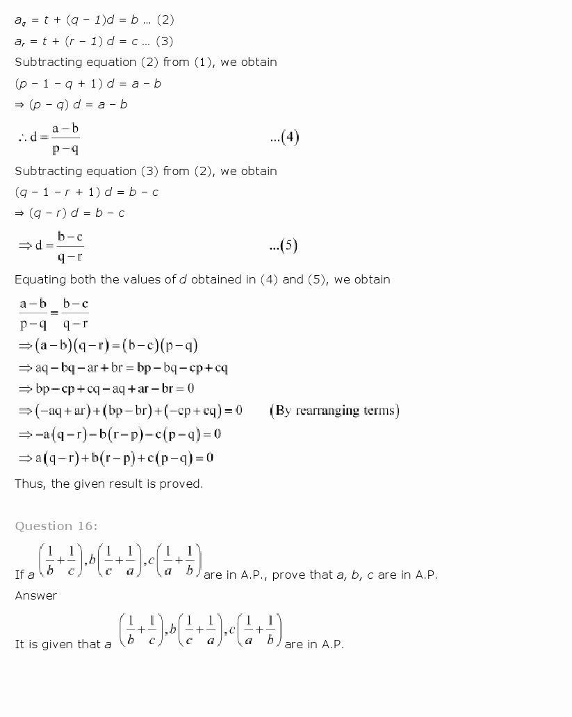 Sequences and Series Worksheet Luxury Ncert solutions for Class 11 Maths Chapter 9 – Sequences