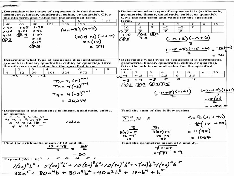 Sequences and Series Worksheet New Algebra 2 Arithmetic Sequences Answer Key 28