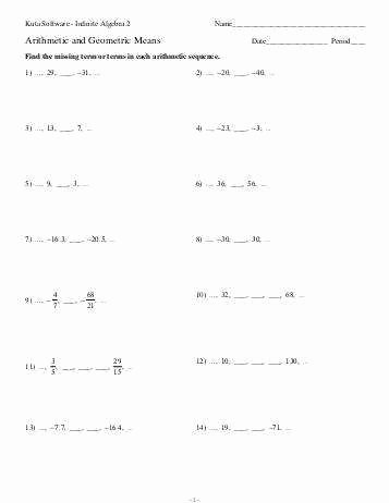 Sequences and Series Worksheet New Arithmetic and Geometric Sequences Worksheet