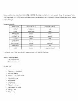 Ser and Estar Worksheet Best Of Ser Versus Estar Worksheets by Mariposa