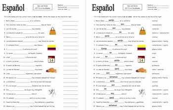 Ser and Estar Worksheet Best Of Spanish Ser and Estar 22 Fill In the Blank Sentences