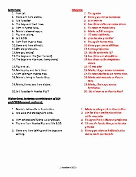 Ser and Estar Worksheet Inspirational Ser Vs Estar Practice Worksheet the Best Worksheets Image