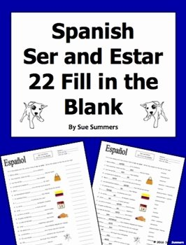 Ser and Estar Worksheet Inspirational Spanish Ser and Estar 22 Fill In the Blank Practice
