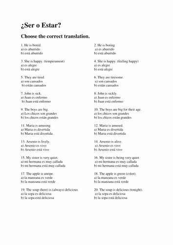 Ser Estar Worksheet Answers Fresh Verbo Ser O Estar by Quinterito Teaching Resources Tes