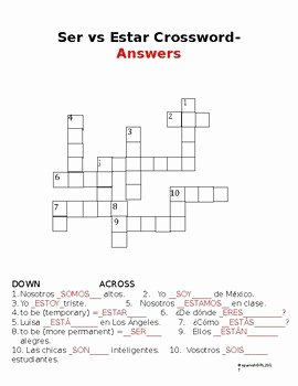Ser Estar Worksheet Answers Inspirational Ser Vs Estar Printable Crossword Uses Verb Chart