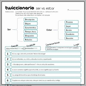 Ser Vs Estar Worksheet Elegant Twiccionario Ser Vs Estar 290 Spanish