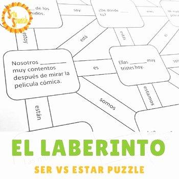 Ser Vs Estar Worksheet Inspirational Ser Vs Estar Laberinto Practice Activity by Srta Spanish