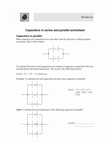 Series and Parallel Circuits Worksheet Best Of Capacitors In Series and Parallel by Uk Teaching