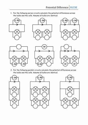 Series and Parallel Circuits Worksheet Best Of Worksheet Potential Difference by Csnewin Teaching