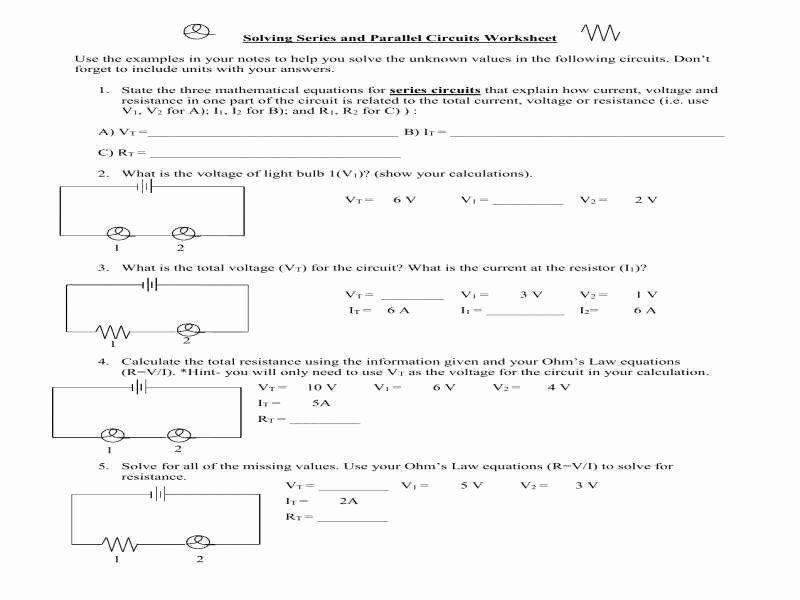 Series and Parallel Circuits Worksheet Elegant Circuits Worksheet